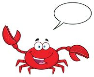 Lyckligt tecken för krabbatecknad filmmaskot som vinkar för att hälsa vektor illustrationer