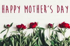 Lyckligt tecken för text för dag för moder` s på härliga röda pioner på vit w Arkivbilder