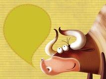 lyckligt tecken för tjurtecknad film Arkivbild