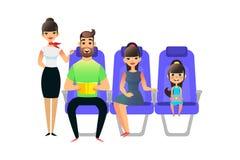 Lyckligt tecknad filmfamiljlopp Passagerare för resande folk och ombord av flygplanet Flickan för mankvinnaang sitter i stock illustrationer