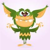Lyckligt tecknad filmmonster Grönt päls- monster för allhelgonaafton Stor samling av gulliga monster Allhelgonaaftontecken Fotografering för Bildbyråer