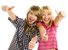 lyckligt teen för flickor Fotografering för Bildbyråer