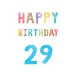 Lyckligt 29th födelsedagårsdagkort Royaltyfri Foto