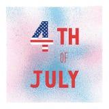 Lyckligt 4th Juli på blå och rosa sprutmålningsfärgvattenfärg Arkivfoto