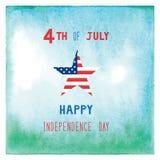Lyckligt 4th Juli på gräsplan- och blåttvattenfärgbakgrund Royaltyfri Foto