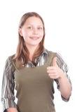 Lyckligt tonårigt göra en gest för flicka Fotografering för Bildbyråer