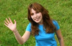 lyckligt tonårs- för flicka Arkivbilder