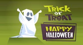Lyckligt trick eller fest för spöke för tecknad film för kort för hälsning för parti för fasa för garnering för allhelgonaaftonba vektor illustrationer