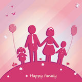 lyckligt utomhus- för familj Vektorillustration med stället för text Royaltyfri Foto
