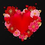 Lyckligt valentin dagbaner med härliga färgrika blommor och stock illustrationer