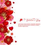 Lyckligt valentin dagbaner med härliga färgrika blommor och royaltyfri illustrationer