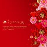 Lyckligt valentin dagbaner med härliga färgrika blommor och vektor illustrationer