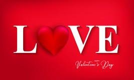 Lyckligt valentin dagbaner med hjärta på röd bakgrund För t royaltyfri fotografi