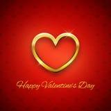 Lyckligt valentin dagkort, guld- hjärta på röd bakgrund Arkivfoto