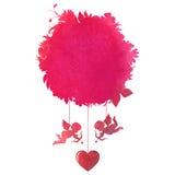 Lyckligt valentin dagkort med änglar för din design watercolo Arkivbilder