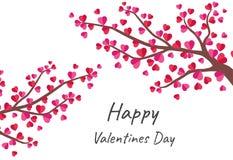 Lyckligt valentin kort för daghälsning med trädet av förälskelse vektor illustrationer