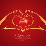 Lyckligt valentin kort för hälsning för dagförälskelse med röd hjärta i hand Arkivfoto