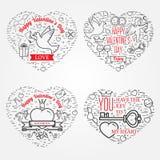 Lyckligt valentin kort för daghälsningar, etiketter, emblem, symboler, I Arkivbilder