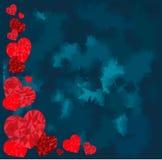 Lyckligt valentindagideal för hälsningkort eller bakgrundsillustration med röda förälskelsehjärtor Royaltyfri Bild
