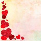 Lyckligt valentindagideal för hälsningkort eller bakgrundsillustration med röda förälskelsehjärtor på bakgrund Arkivbild