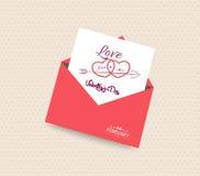 Lyckligt valentindagkort med kuverthjärta royaltyfri illustrationer