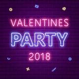 Lyckligt valentindagparti 2018 Glödande text för neon stock illustrationer