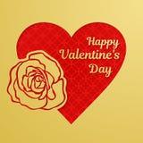 Lyckligt Valentine Day hälsningkort eller baner En guld- hjärta och ett härligt steg, snidit från papper Röd tracerymodell på loe vektor illustrationer
