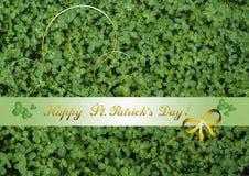 Lyckönskan med lycklig dag för St Patrick ` s på bakgrund av växt av släktet Trifolium Arkivbilder