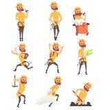 Lycksökarearkeolog i Safari Suit With en Whip Set Of Activity Illustrations vektor illustrationer
