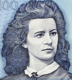 Lydia Koidula. (1843-1886) on 100 Krooni 1999 Banknote from Estonia. Estonian  poet Stock Photo