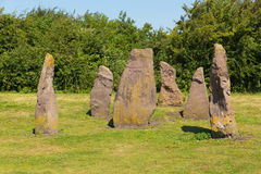 Lydney harbour Gloucestershire England uk stones in picnic area Royalty Free Stock Image