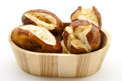 Lye bread rolls in bowl Royalty Free Stock Images