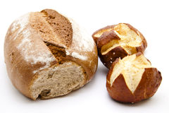 Lye bread rolls and wheat bread Stock Photos