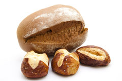 Lye bread rolls and wheat bread Royalty Free Stock Image