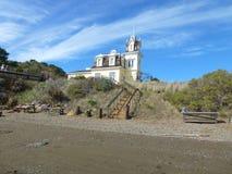 Lyford House, Tiburon, CA Landmark. Victorian landmark home on Richardson Bay as seen from the beach Stock Photo