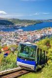 Lyft till Floyen från Bergen Norway Arkivbilder