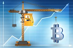 Lyftande bitcoinen för konstruktionskran i cryptocurrencybegrepp Arkivbild