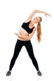 lyftande weights le för attraktiv kameracloseupkondition kvinnan Arkivbild
