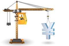 Lyftande yen för konstruktionskran i valutaaffärsidé Royaltyfri Bild