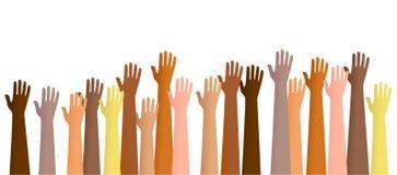 lyftta händer stock illustrationer