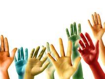 lyftta händer Fotografering för Bildbyråer