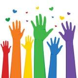 Lyftta LGBT-händer stock illustrationer