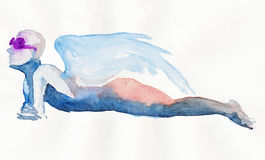 Lying angel no.1. Hand made picture, water colors technique, lying figure - angel Royalty Free Stock Photo