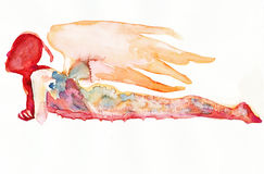 Lying angel no.4. Hand made picture, water colors technique, lying figure - angel Stock Photo