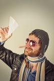 Lying Aviator Man Stock Photos
