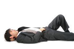 Lying on back businessman Royalty Free Stock Images