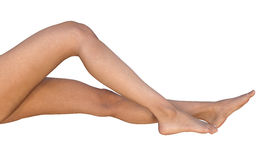 Lying barefoot stretched and bent female legs. A CG illustration of Caucasian female legs from thighs to feet - right side view, isolated on white. One leg is stock illustration