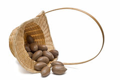 A lying basket with nuts. Stock Photo