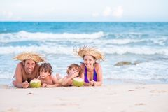Lying on the beach Royalty Free Stock Images