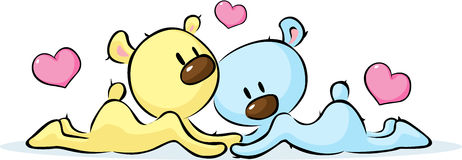 Lying bears in love - vector illustration Royalty Free Stock Photography